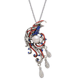 Fresh Water White Pearl and Multi Colour Austrian Crystal Pendant With Chain in Black Tone with Stainless Steel