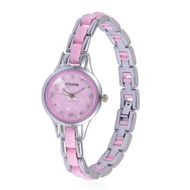 STRADA Japenese Movement White Austrian Crystal Studded Pink Dial Water Resistant Watch in Silver Tone with Stainless Steel Back and Pink Strap