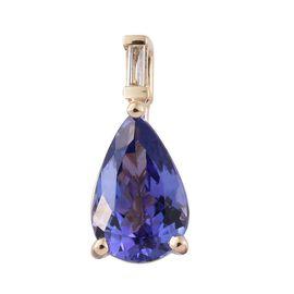 14K Y Gold AAA Tanzanite (Pear), Diamond (I3/G-H) Pendant 1.400 Ct.