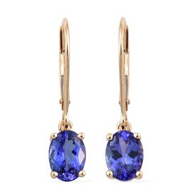 ILIANA 18K Yellow Gold 2.15 Carat AAA Tanzanite Oval Solitaire Lever Back Earrings.