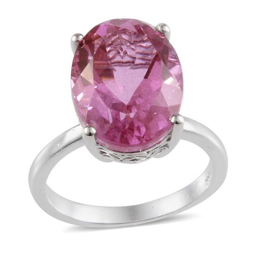 Kunzite Colour Quartz (Ovl) Ring in Platinum Overlay Sterling Silver 10.500 Ct.