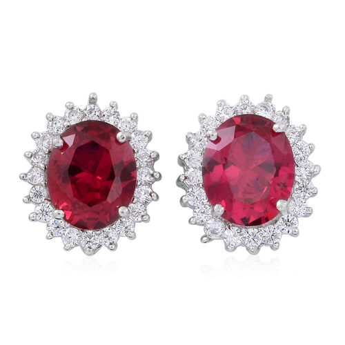 (Option 1) ELANZA AAA Simulated Rubellite (Ovl), Simulated White Diamond Pendant and Stud Earrings (with Push Back) in Rhodium Plated Sterling Silver
