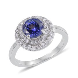 RHAPSODY 950 Platinum 2 Carat AAAA Tanzanite And Diamond (VVS/E-F) Ring