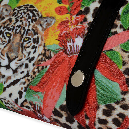 Leopard and Flower Pattern Clutch Bag (Size 30x5x12 Cm)