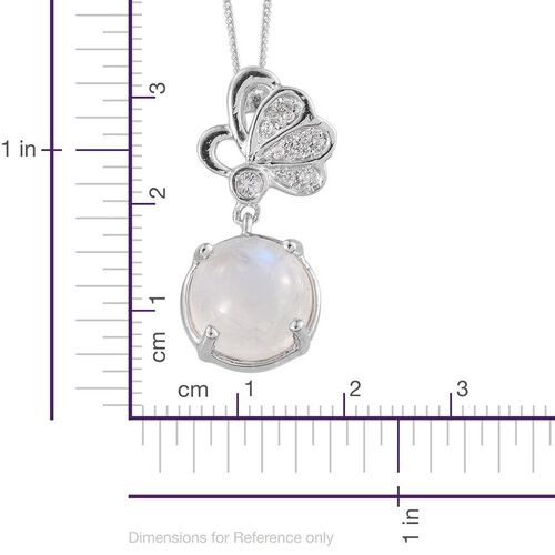 Natural Rainbow Moonstone (Rnd 3.90 Ct), Natural Cambodian Zircon Pendant With Chain in Platinum Overlay Sterling Silver 4.000 Ct.