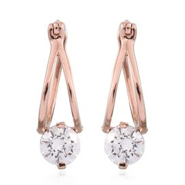 J Francis - Rose Gold Overlay Sterling Silver (Rnd) Earrings (with Clasp) Made with SWAROVSKI ZIRCONIA 2.060 Ct.