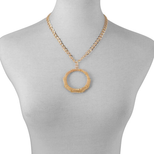 Circle Necklace (Size 20) and Hook Earrings in Gold Tone