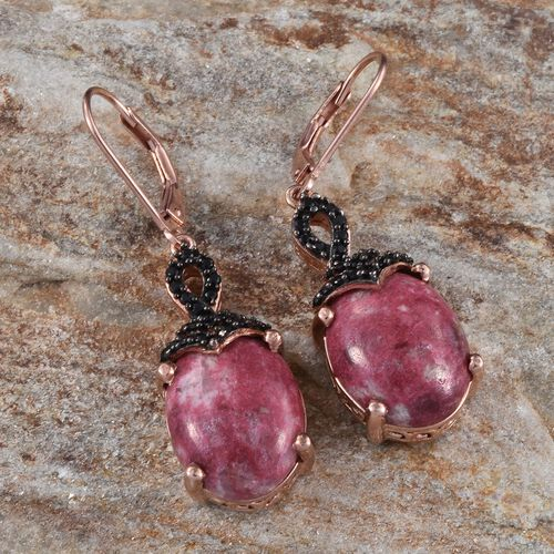 Norwegian Thulite (Ovl), Boi Ploi Black Spinel Earrings in Rose Gold Overlay Sterling Silver 22.250 Ct.