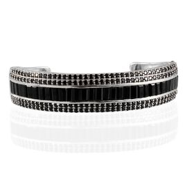 Boi Ploi Black Spinel (Bgt) Bangle (Size 7.5) in Platinum Overlay Sterling Silver 21.750 Ct.