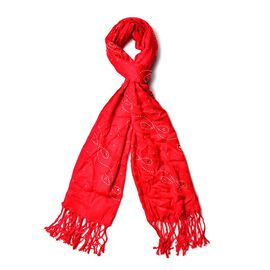 Red Colour AAA White Austrian Crystal Studded Bow Pattern Scarf with Tassels (Size 165x58 Cm)