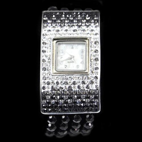 Japanese Quartz Movement Black Austrian Crystal  Watch  3.000  Ct.