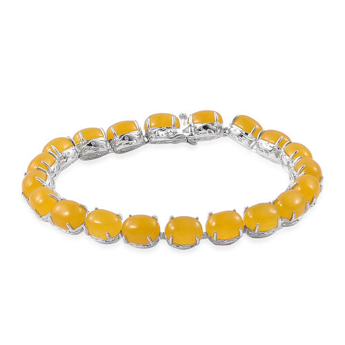Yellow Jade (Ovl) Dragon Bracelet (Size 7.5) in Platinum Overlay Sterling Silver 45.250 Ct.