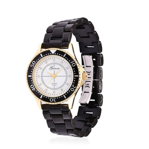 GENOA Black Ceramic Gold Tone Japanese Movement, Water Resistant Watch Studded with Austrian Crystals