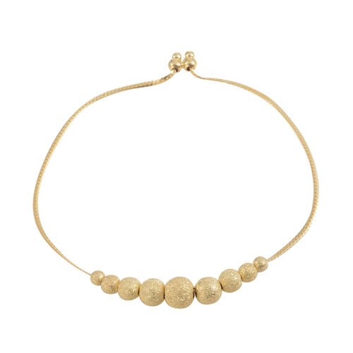 Designer Inspired 14K Gold Overlay Sterling Silver Adjustable Ball Beads Bracelet (Size 8.5), Silver wt 4.30 Gms.