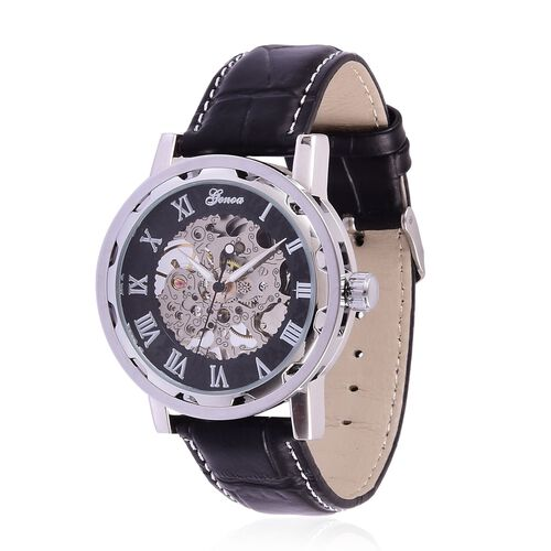 GENOA Automatic Skeleton Black Dial Water Resistant Watch in Silver Tone with Stainless Steel Back and Black Strap