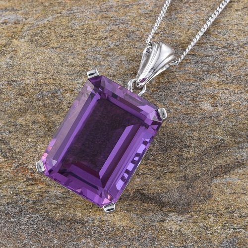 Lavender Alexite (Oct) Pendant With Chain in Platinum Overlay Sterling Silver 11.500 Ct.