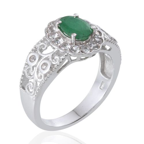Kagem Zambian Emerald (Ovl 1.10 Ct), White Topaz Ring in Platinum Overlay Sterling Silver 1.750 Ct.