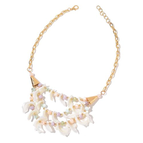 Handcrafted White Shell and Multi Colour Beads Necklace (Size 21 with 2 inch Extender) in Yellow Gold Tone