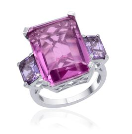 Kunzite Colour Quartz (Oct 14.75 Ct), Rose De France Amethyst Ring in Platinum Overlay Sterling Silver 16.500 Ct.