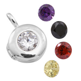 AAA Simulated Diamond (Rnd), Simulated Citrine, Simulated Garnet, Simulated Amethyst and Simulated Black Sapphire Interchangeable Pendant in Sterling Silver, Total Stone wt. 17.500 Ct.