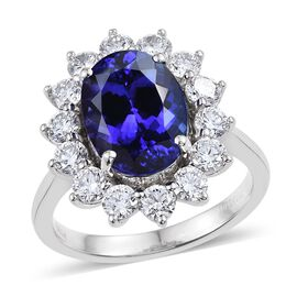 RHAPSODY 950 Platinum AAAA Tanzanite (Ovl 8.35 Ct), Diamond Ring 10.300 Ct.