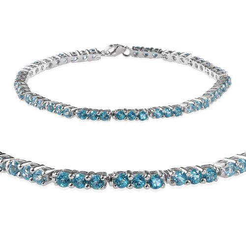 Signity Paraiba Topaz (Rnd) Bracelet in Platinum Overlay Sterling Silver (Size 7.5) 7.000 Ct.