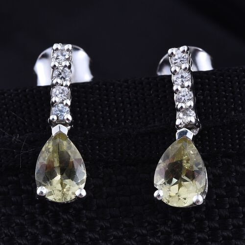 Natural Canary Apatite (Pear), Natural Cambodian Zircon Earrings in Platinum Overlay Sterling Silver 1.500 Ct.