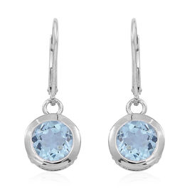 Sky Blue Topaz (Rnd) Lever Back Earrings in Rhodium Plated Sterling Silver 5.000 Ct.