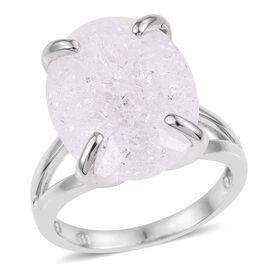 Diamond Crackled Quartz (Ovl) Ring in Platinum Overlay Sterling Silver 16.500 Ct.