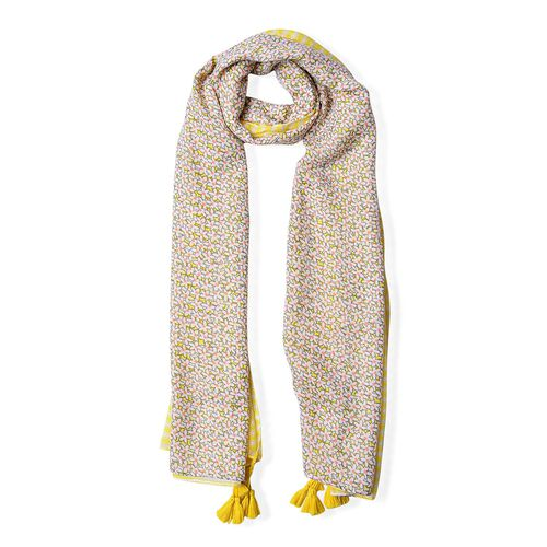 Grey, Yellow and Pink Colour Floral and Stripes Pattern Scarf with Tassels (Size 180X90 Cm)