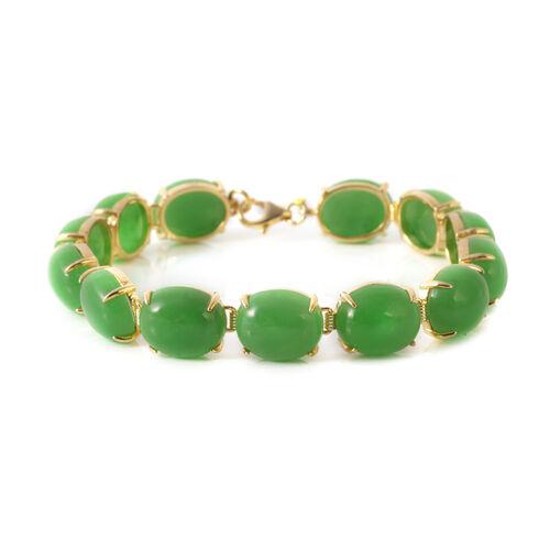 Green Jade (Ovl) Bracelet (Size 7.5) in Platinum Overlay Sterling Silver 85.250 Ct.