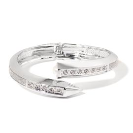 Designer Inspired AAA White Austrian Crystal and Simulated Pearl Nail Bangle (Size 7) in Silver Tone