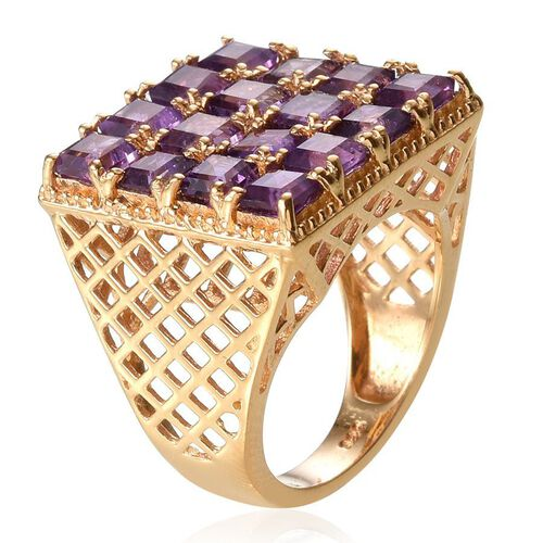 Amethyst (Sqr) Ring in 14K Gold Overlay Sterling Silver 4.500 Ct.