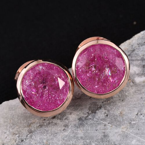 Hot Pink Crackled Quartz (Rnd) Stud Earrings (with Push Back) in Rose Gold Overlay Sterling Silver 3.750 Ct.