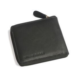 Genuine Leather Black Colour RFID Zip Up Wallet (Size 11x9 Cm)