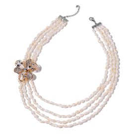 Keshi Pearl, Simulated White Cats Eye, White Austrian Crystal and Simulated White Diamond Multi Strand Necklace (Size 18 with 1 inch Ex) and Brooch in Yellow Gold Tone with Stainless Steel