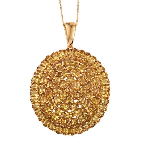 Marialite (Ovl) Cluster Pendant With Chain in 14K Gold Overlay Sterling Silver 15.500 Ct.