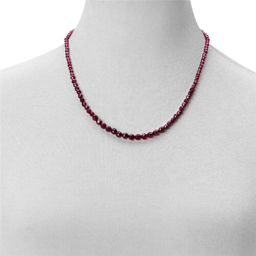 AAA Odisha Rhodolite Garnet Necklace (Size 20) with Clasp Lock in Rhodium Plated Sterling Silver 80.000 Ct.