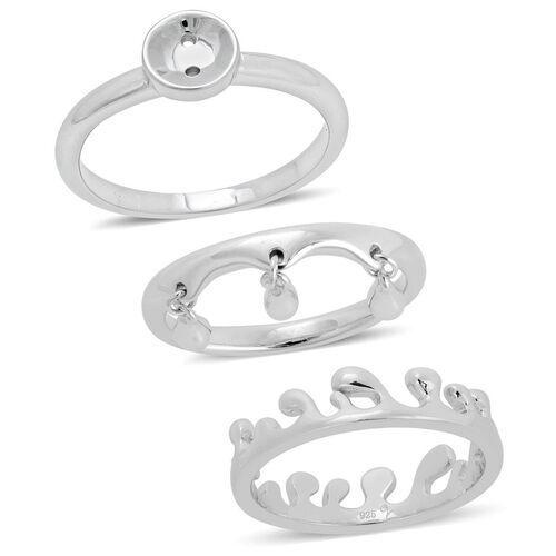 Set of 3 - LucyQ Triple Drip, Button and Ocean Ring in Rhodium Plated Sterling Silver 7.61 Gms.
