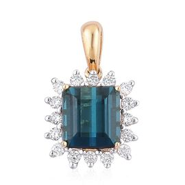 ILIANA 18K Y Gold AAA Very Rare Monte Belo Indicolite (Oct 1.75 Ct), Diamond (SI /G-H) Pendant 1.900 Ct.