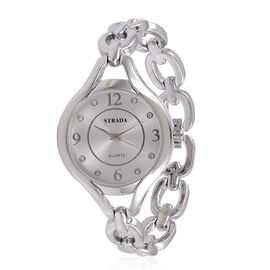 STRADA Japanese Movement White Austrian Crystal Studded Dial Water Resistant Watch in Silver Tone with Stainless Steel Back and Chain Strap