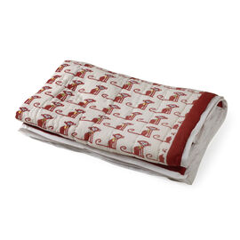 100% Cotton White, Red and Multi Colour Hand Block Monkey Printed Quillow (Size 150x110 Cm)
