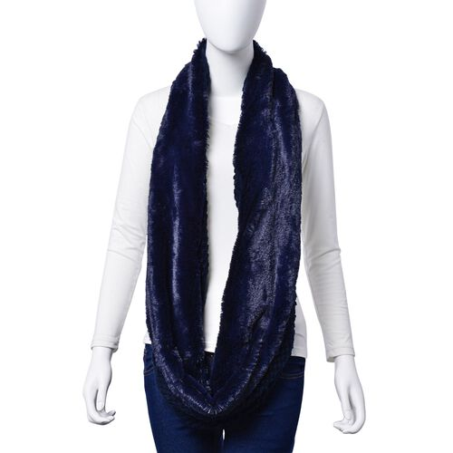 Designer Inspired Double Layered Infinity Blue Scarf (Size 20X80 Cm)