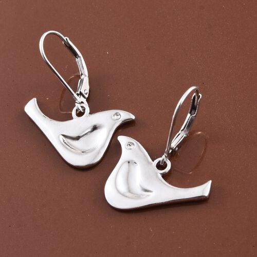 Platinum Overlay Sterling Silver Birds Lever Back Earrings, Silver wt 4.52 Gms.