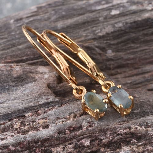 Narsipatnam Alexandrite (Ovl) Lever Back Earrings in 14K Gold Overlay Sterling Silver 0.500 Ct.