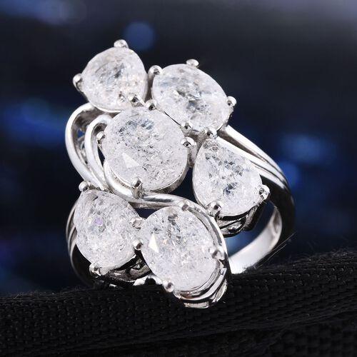 Diamond Crackled Quartz (Ovl 1.75 Ct) Ring in Platinum Overlay Sterling Silver 7.500 Ct.
