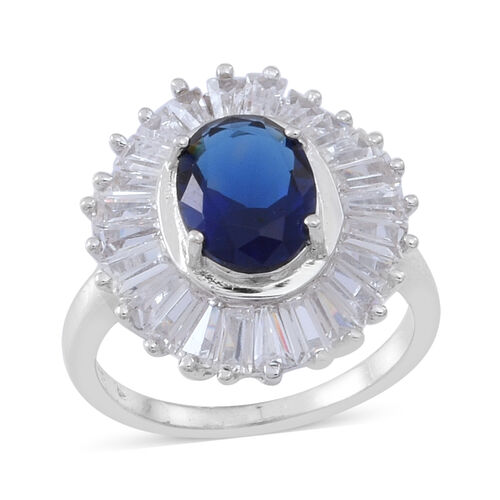 ELANZA AAA Simulated Tanzanite (Ovl), Simulated Diamond Ring in Rhodium Plated Sterling Silver