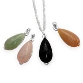 Red and Green Aventurine, Rose Quartz and Black Onyx Four Interchangeable Pendant with One Chain (Size 18 with Extender) in Silver Tone