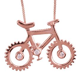 J Francis - Rose Gold Overlay Sterling Silver (Rnd) Cycle Pendant With Chain Made with SWAROVSKI ZIRCONIA