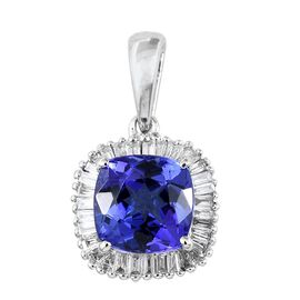 RHAPSODY 950 Platinum AAAA Tanzanite (Cush 1.75 Ct), Diamond Pendant 2.000 Ct.